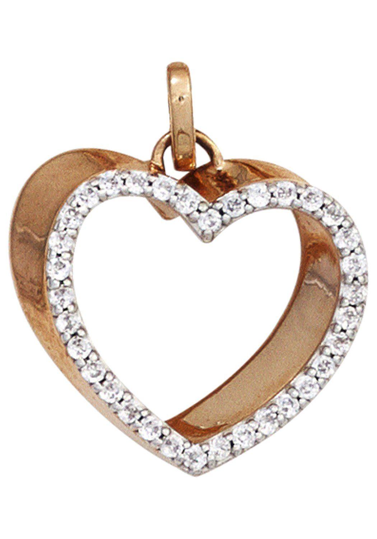 JOBO Herzanhänger »Herz« 585 Roségold mit 34 Diamanten