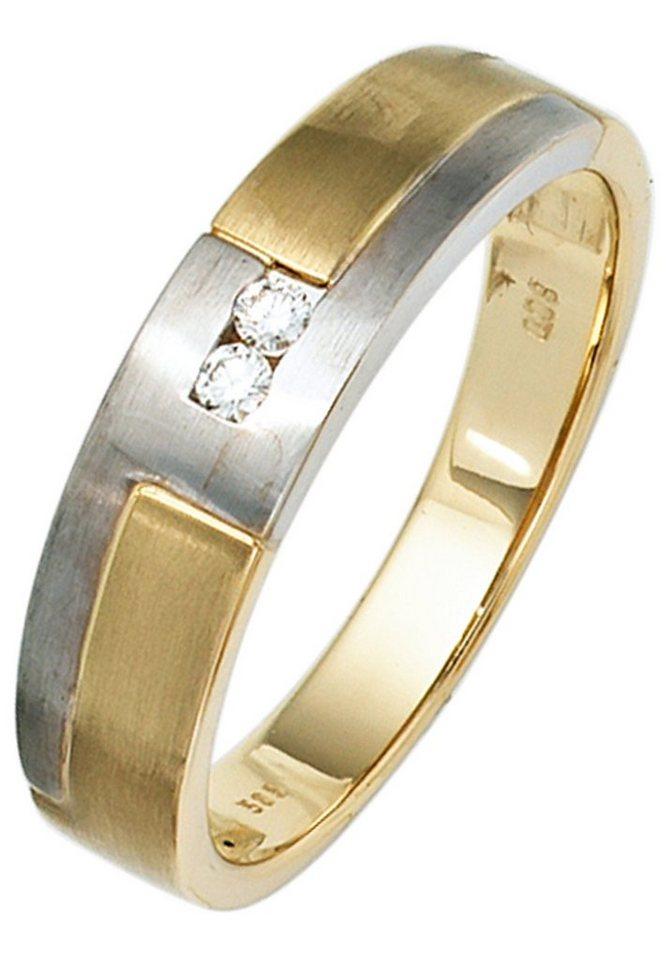 jobo diamantring 585 gelbgold wei gold mit 2 diamanten hochwertiger ring online kaufen otto. Black Bedroom Furniture Sets. Home Design Ideas