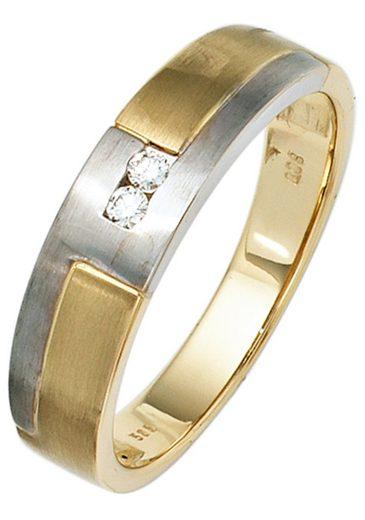 JOBO Diamantring 585 Gelbgold Weißgold mit 2 Diamanten