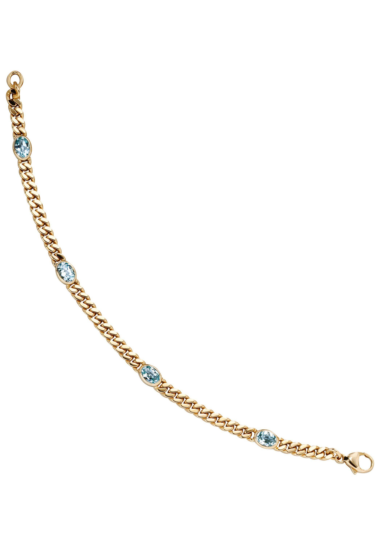 JOBO Goldarmband 585 Gold mit Blautopas 19 cm