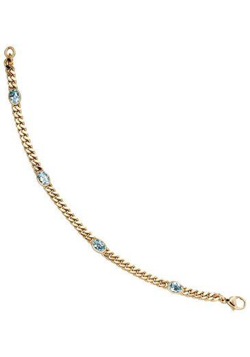 JOBO Goldarmband, 585 Gold mit Blautopas 19 cm