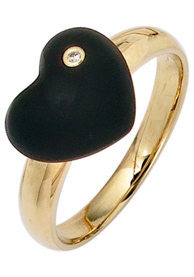 JOBO Diamantring 585 Gold mit 1 Diamant und Onyx | Schmuck > Ringe > Diamantringe | Goldfarben | Si | JOBO