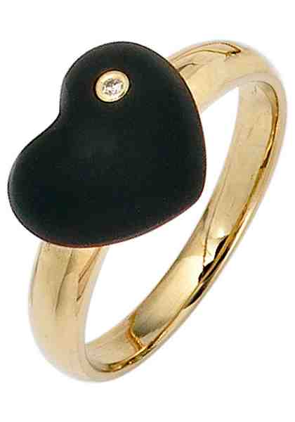 JOBO Diamantring 585 Gold mit 1 Diamant und Onyx