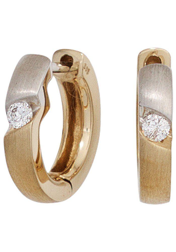 JOBO Paar Creolen rund 585 Gold bicolor mit 2 Diamanten