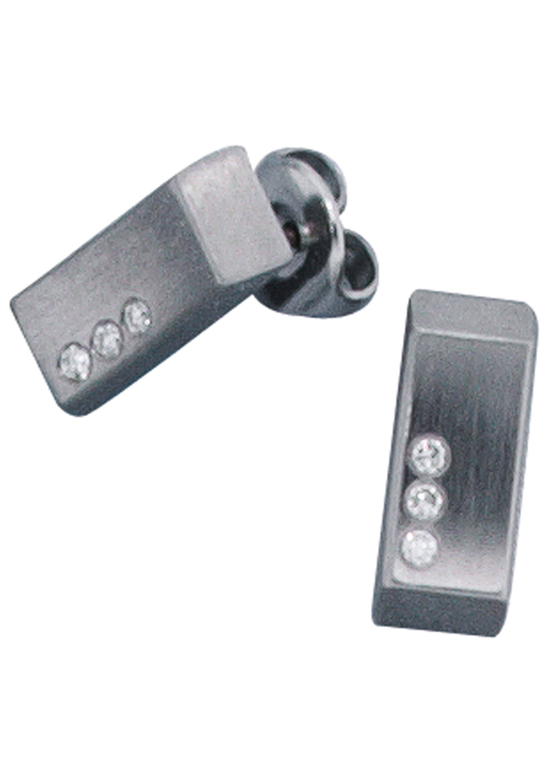 JOBO Paar Ohrstecker Edelstahl mit 6 Diamanten