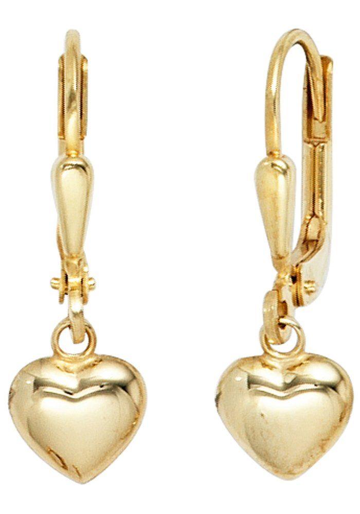 JOBO Paar Ohrhänger Herz 333 Gold
