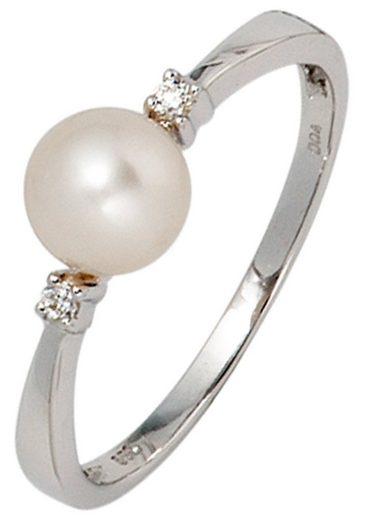 JOBO Perlenring 585 Weißgold Süßwasser-Zuchtperle und 2 Diamanten