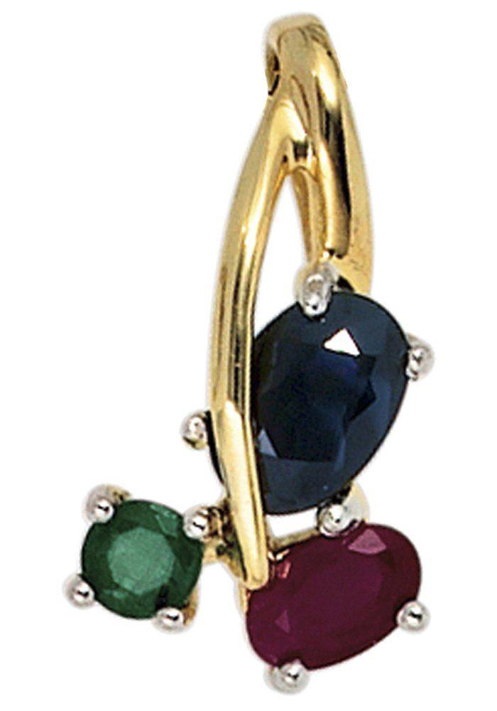 JOBO Kettenanhänger 585 Gold bicolor mit Rubin Safir Smaragd