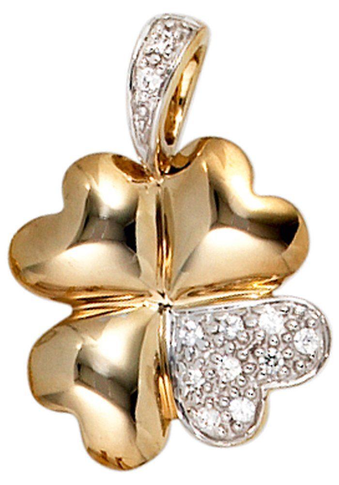 JOBO Kettenanhänger »Kleeblatt«, 333 Gold bicolor mit Zirkonia