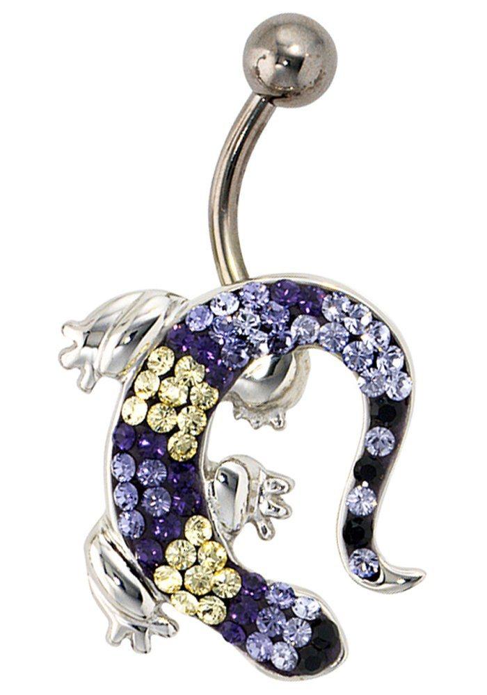JOBO Bauchnabelpiercing »Gecko« 925 Silber mit SWAROVSKI® ELEMENTS | Schmuck > Piercings > Sonstige Piercing | Silber | JOBO
