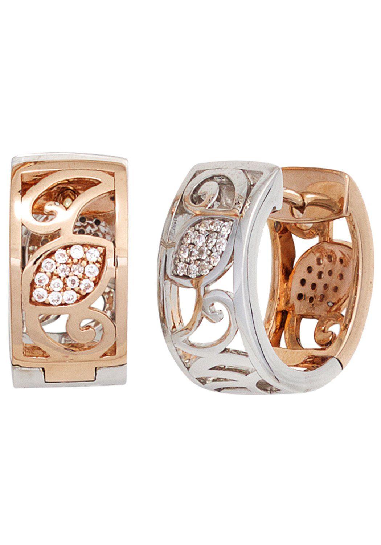 JOBO Paar Creolen breit oval 585 Gold bicolor mit 56 Diamanten