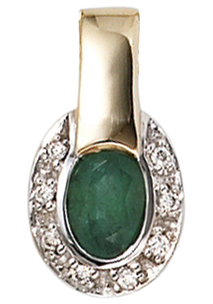 JOBO Kettenanhänger oval 585 Gold bicolor mit 8 Diamanten und Smaragd