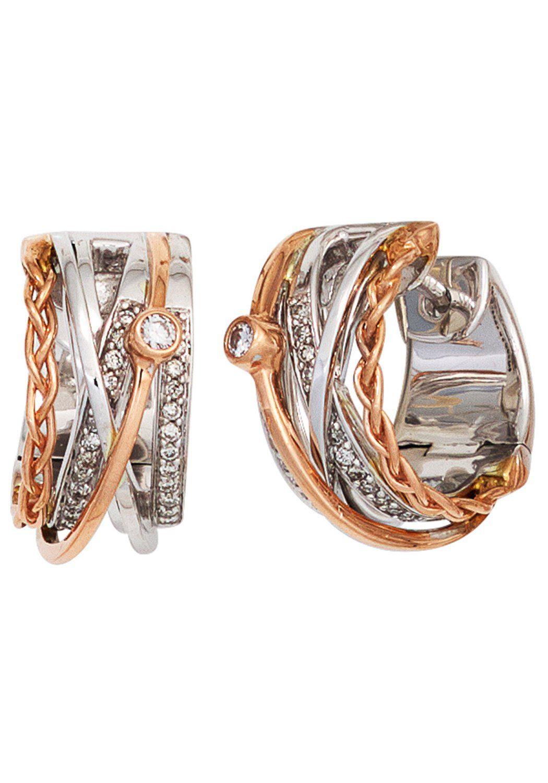 JOBO Paar Creolen rund 585 Gold bicolor mit 52 Diamanten
