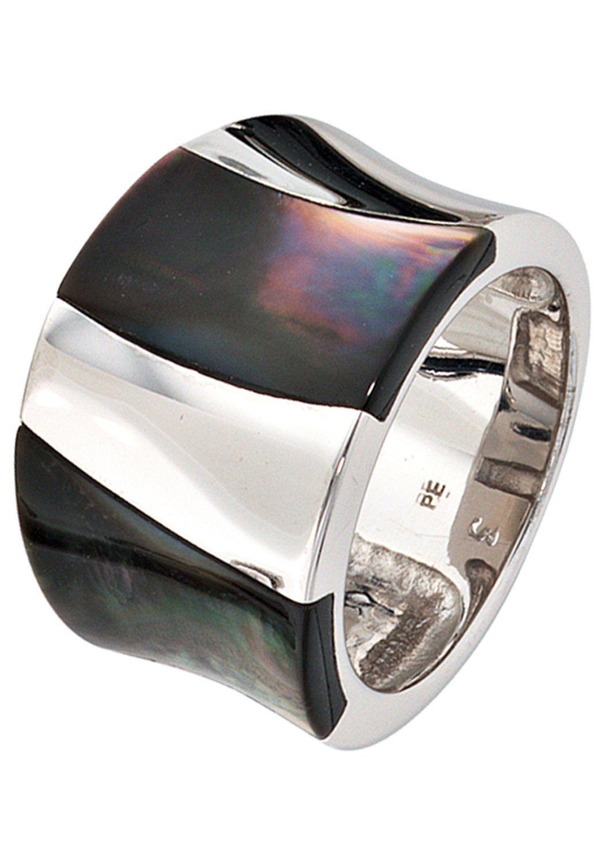 Damen Ring Silberring Statementring breit 925 Sterling Silber rhodiniert matt