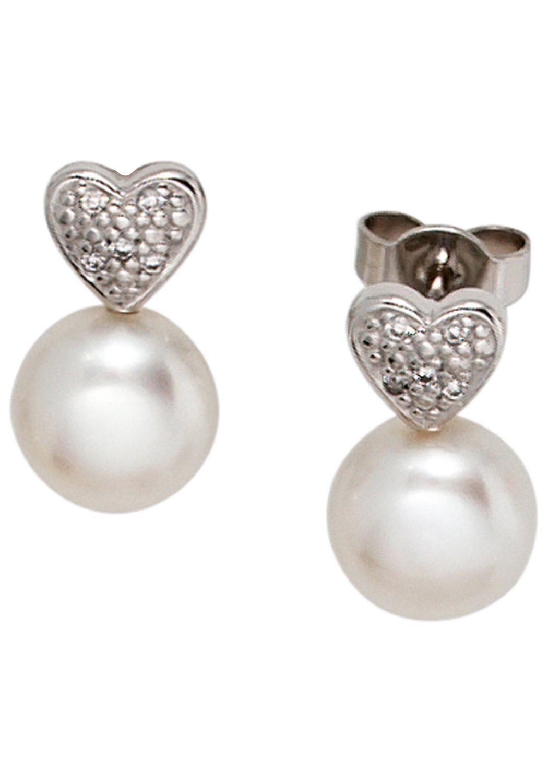 JOBO Perlenohrringe Herz 585 Weißgold 10 Diamanten 2 Süßwasser Perlen