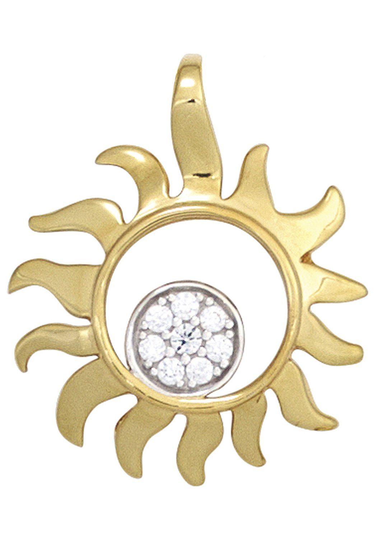 JOBO Sonnenanhänger »Sonne« 585 Gold bicolor mit 8 Diamanten