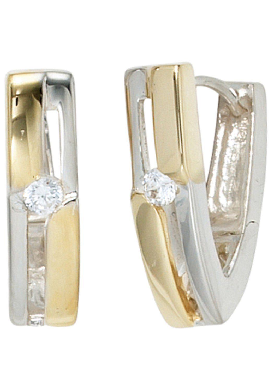 JOBO Paar Creolen 925 Silber bicolor vergoldet mit Zirkonia