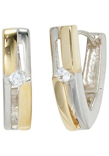 JOBO Paar Creolen, 925 Silber bicolor vergoldet mit Zirkonia