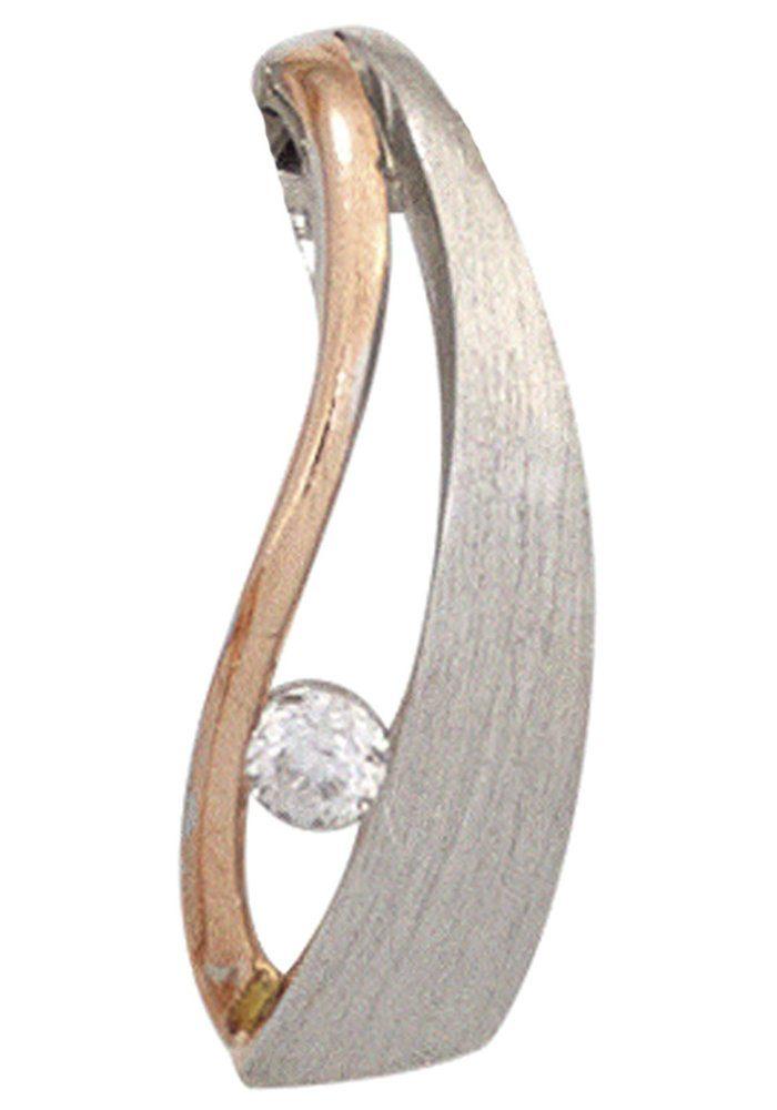 JOBO Kettenanhänger 925 Silber bicolor vergoldet mit Zirkonia