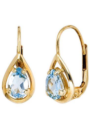 JOBO Paar Ohrhänger, Tropfen 333 Gold mit Blautopas