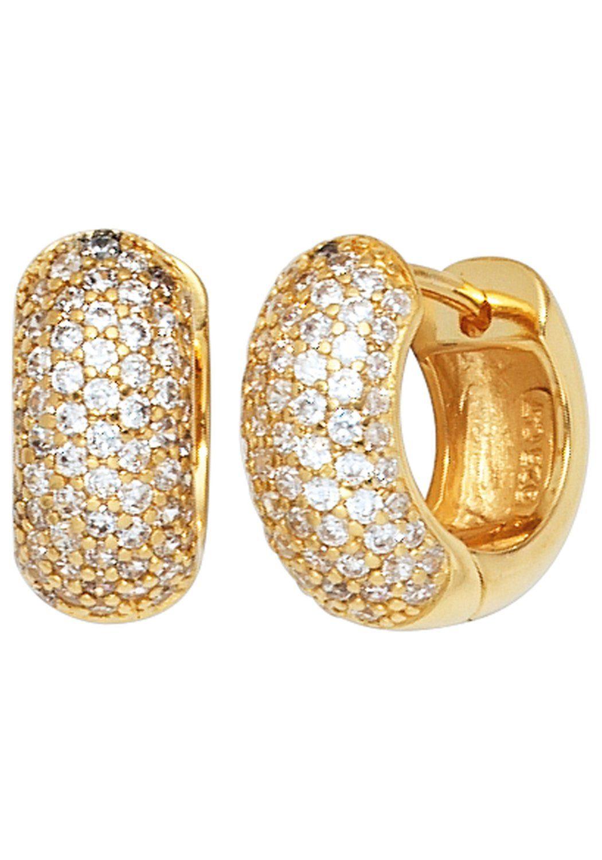 JOBO Paar Creolen breit rund 925 Silber vergoldet mit Zirkonia