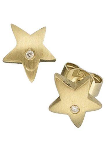 JOBO Paar Ohrstecker »Sterne«, 585 Gold mit 2 Diamanten