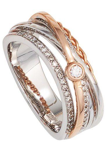 JOBO Diamantring breit 585 Gold bicolor mit 48 Diamanten