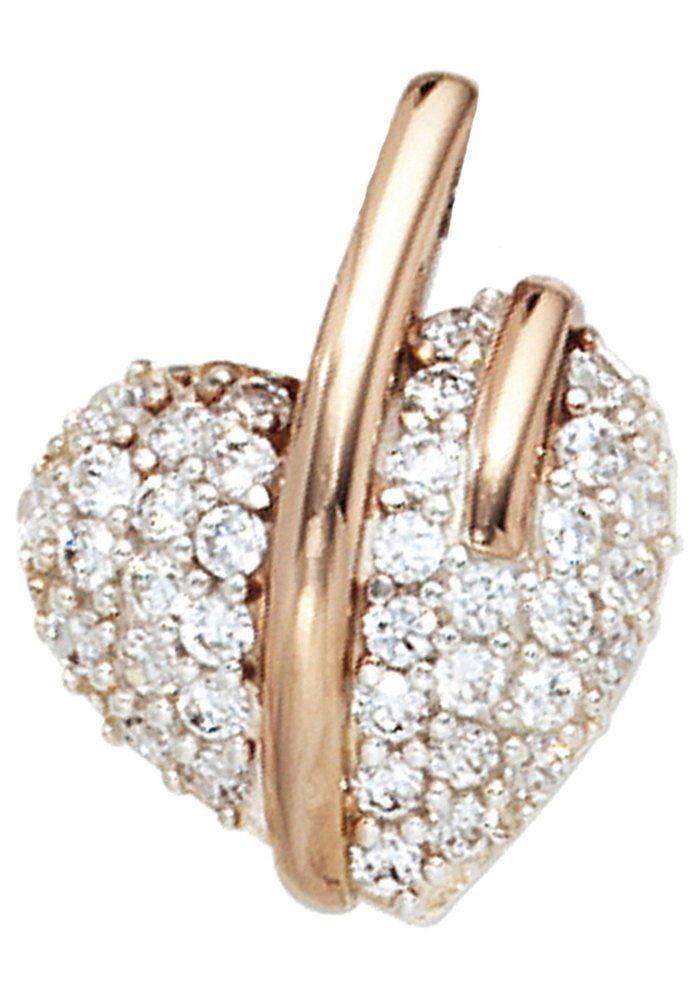JOBO Herzanhänger »Herz« 925 Silber roségold vergoldet bicolor mit Zirkonia