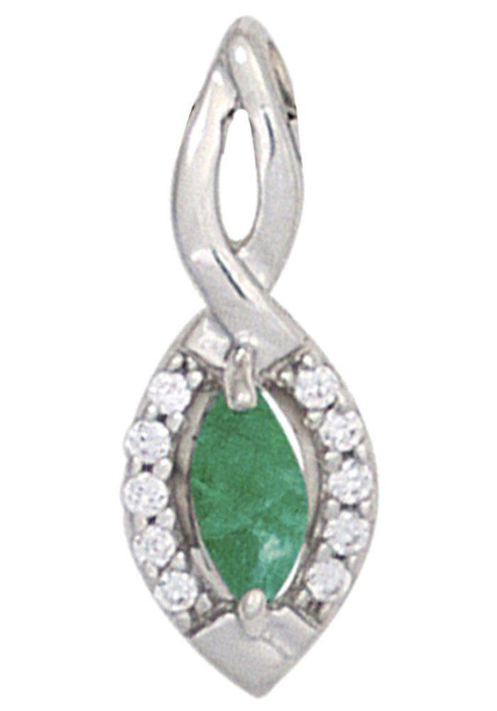 JOBO Kettenanhänger 333 Weißgold mit 10 Diamanten und Smaragd