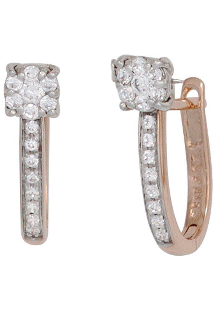 JOBO Paar Creolen 585 Gold bicolor mit 30 Diamanten