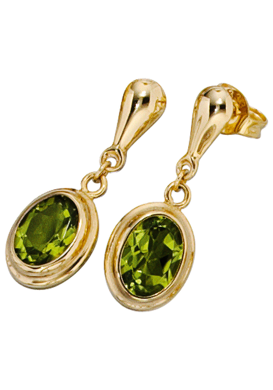 JOBO Paar Ohrhänger oval 585 Gold mit Peridot