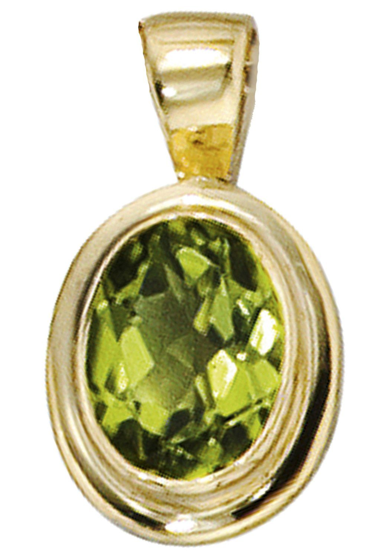 JOBO Kettenanhänger oval 585 Gold mit Peridot
