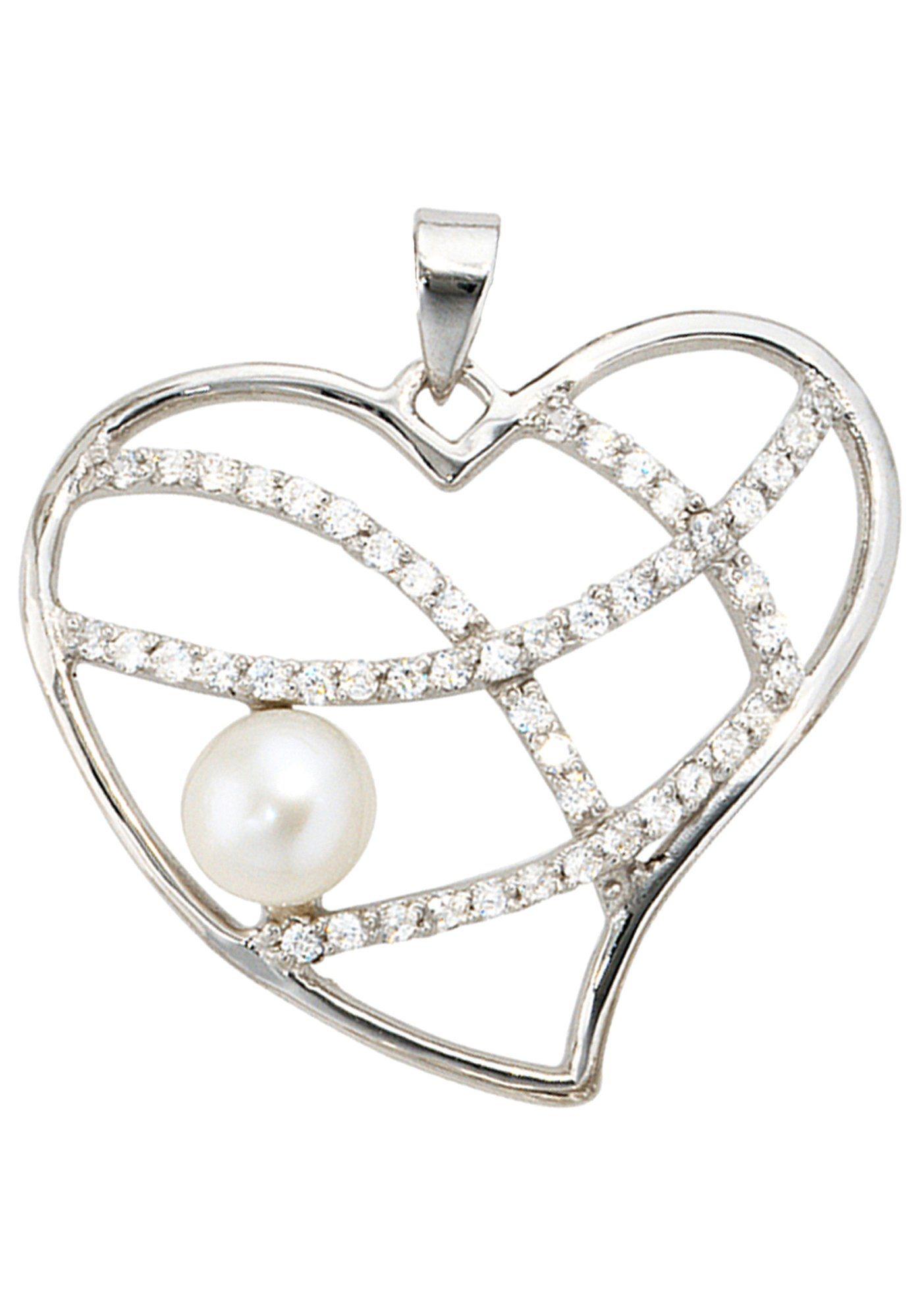 JOBO Herzanhänger »Herz« 925 Silber mit Süßwasser-Zuchtperle und Zirkonia | Schmuck > Halsketten > Herzketten | Silber | JOBO
