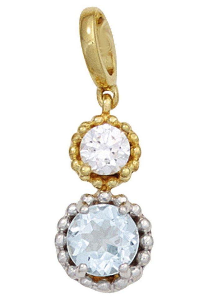 JOBO Kettenanhänger 333 Gold bicolor mit Blautopas und Zirkonia   Schmuck > Halsketten > Kettenanhänger   Goldfarben   JOBO