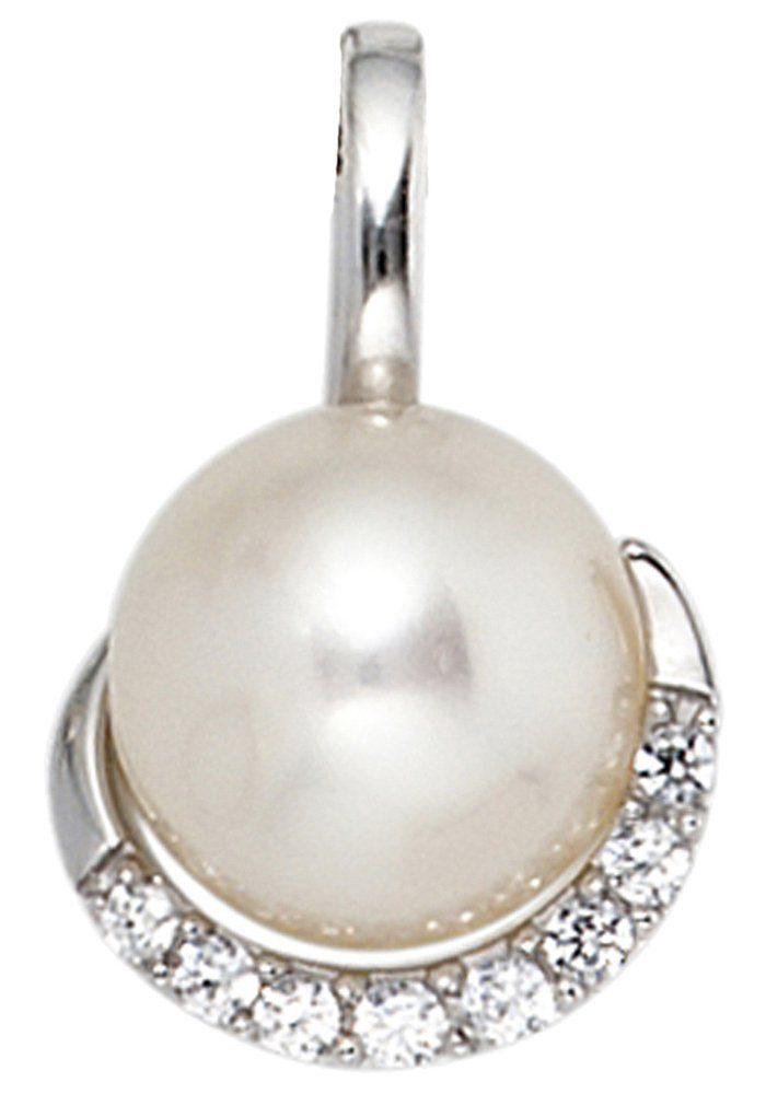 JOBO Perlenanhänger 585 Weißgold 8 Diamanten und Süßwasser-Zuchtperle