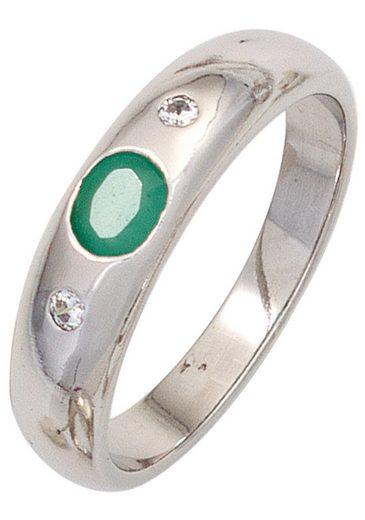 JOBO Silberring, 925 Silber mit Smaragd und Zirkonia