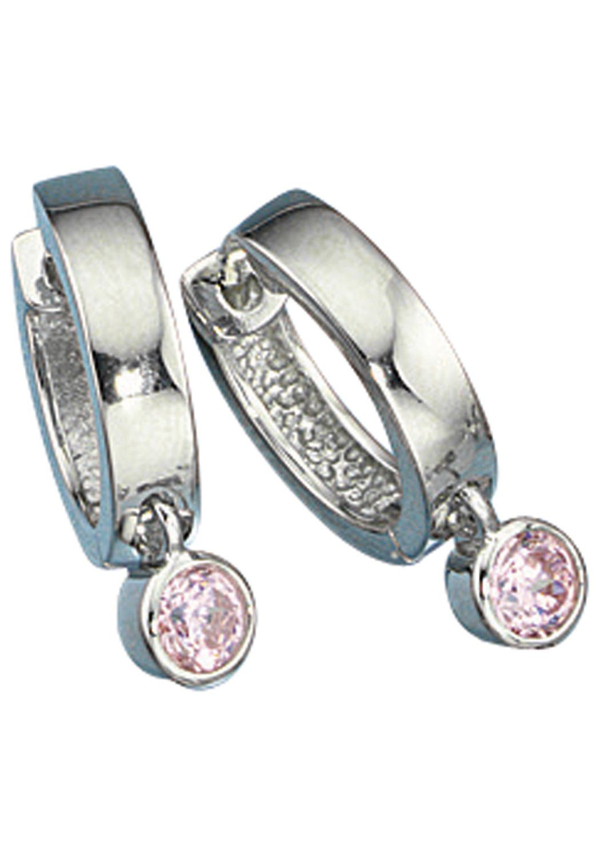 JOBO Paar Creolen 925 Silber mit Zirkonia