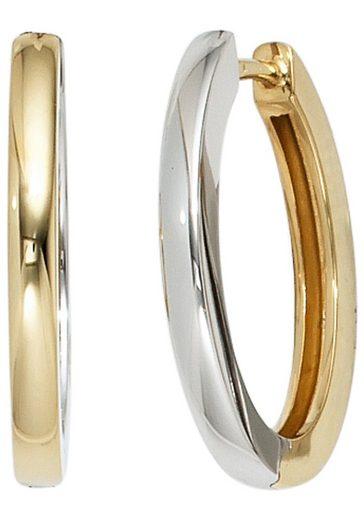 JOBO Paar Creolen, oval 585 Gold bicolor