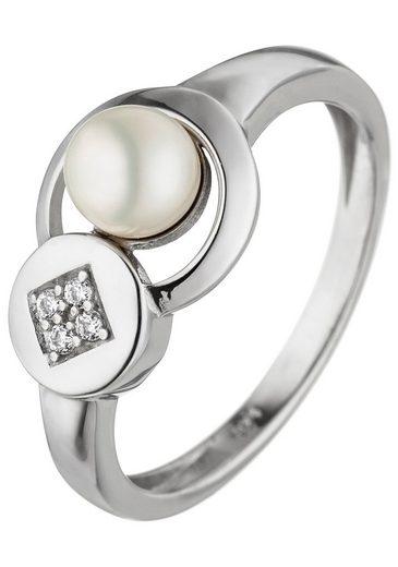JOBO Perlenring, 925 Silber mit Perle und Zirkonia