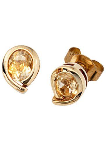 JOBO Paar Ohrstecker, Tropfen 333 Gold mit Citrin