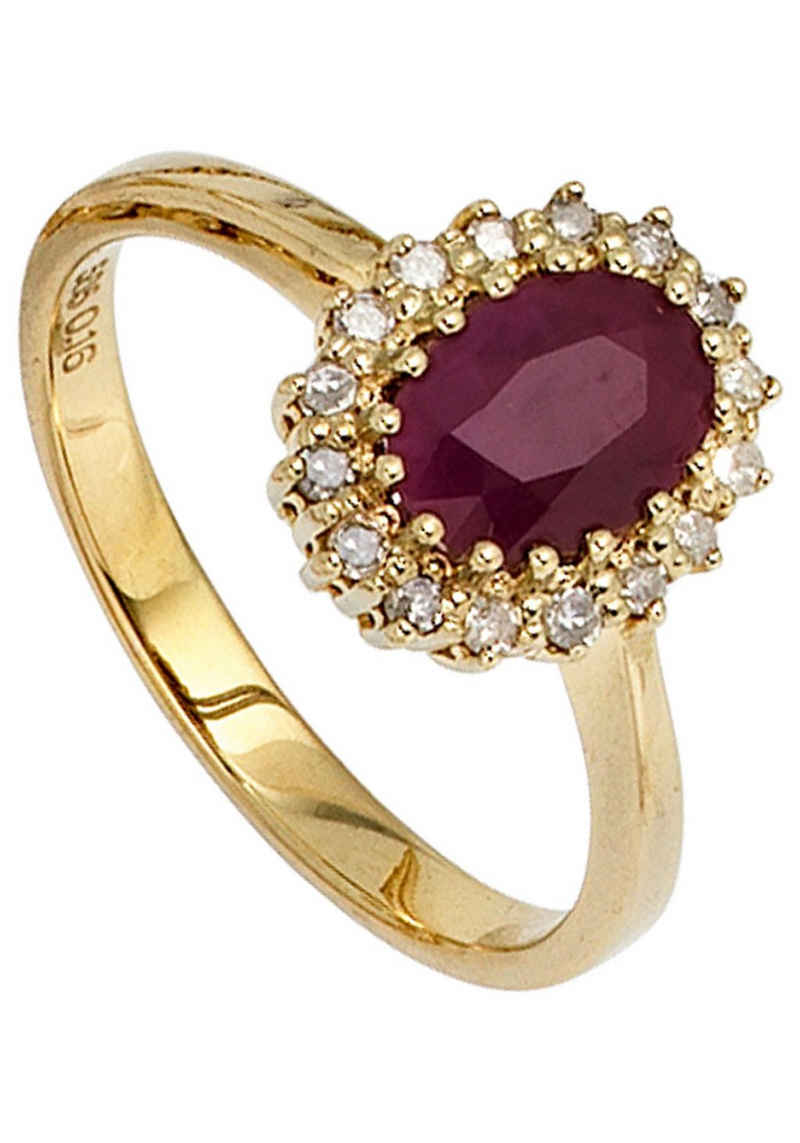 JOBO Diamantring, 585 Gold mit 16 Diamanten und Rubin