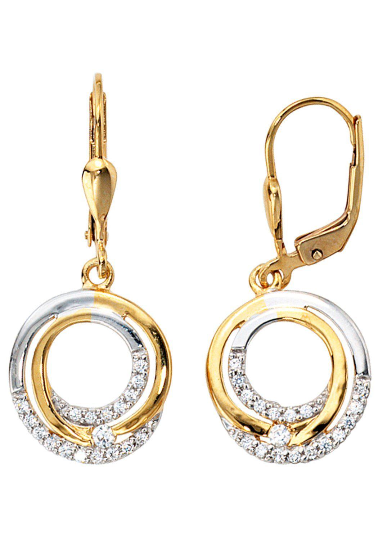 JOBO Paar Ohrhänger 333 Gold bicolor mit Zirkonia