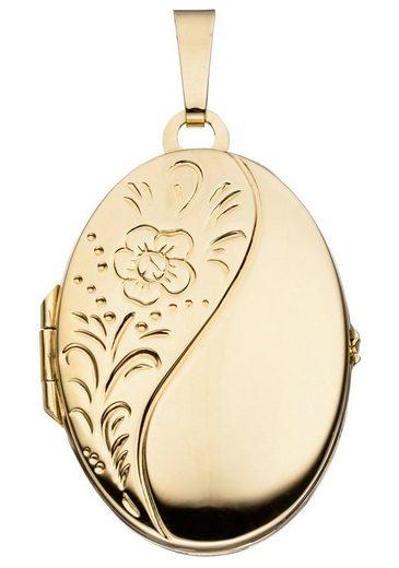 JOBO Medallionanhänger »Medaillon«, oval 925 Silber vergoldet