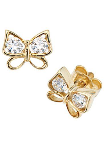 JOBO Paar Ohrstecker »Schmetterling« 333 Gold mit 4 Zirkonia