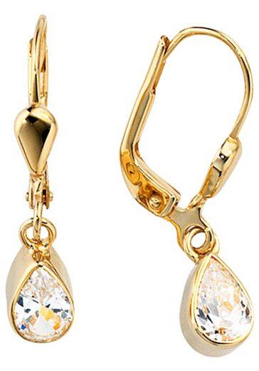 JOBO Paar Ohrhänger Tropfen 333 Gold mit Zirkonia