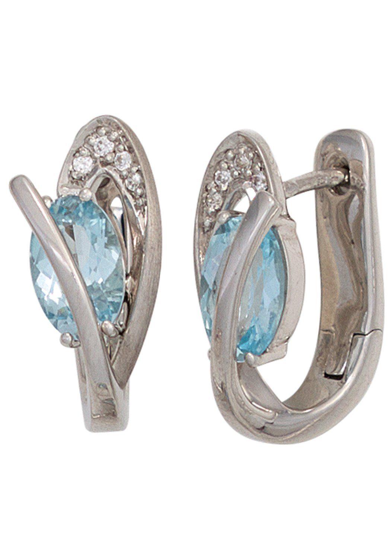 JOBO Paar Creolen 925 Silber mit Blautopas und Zirkonia