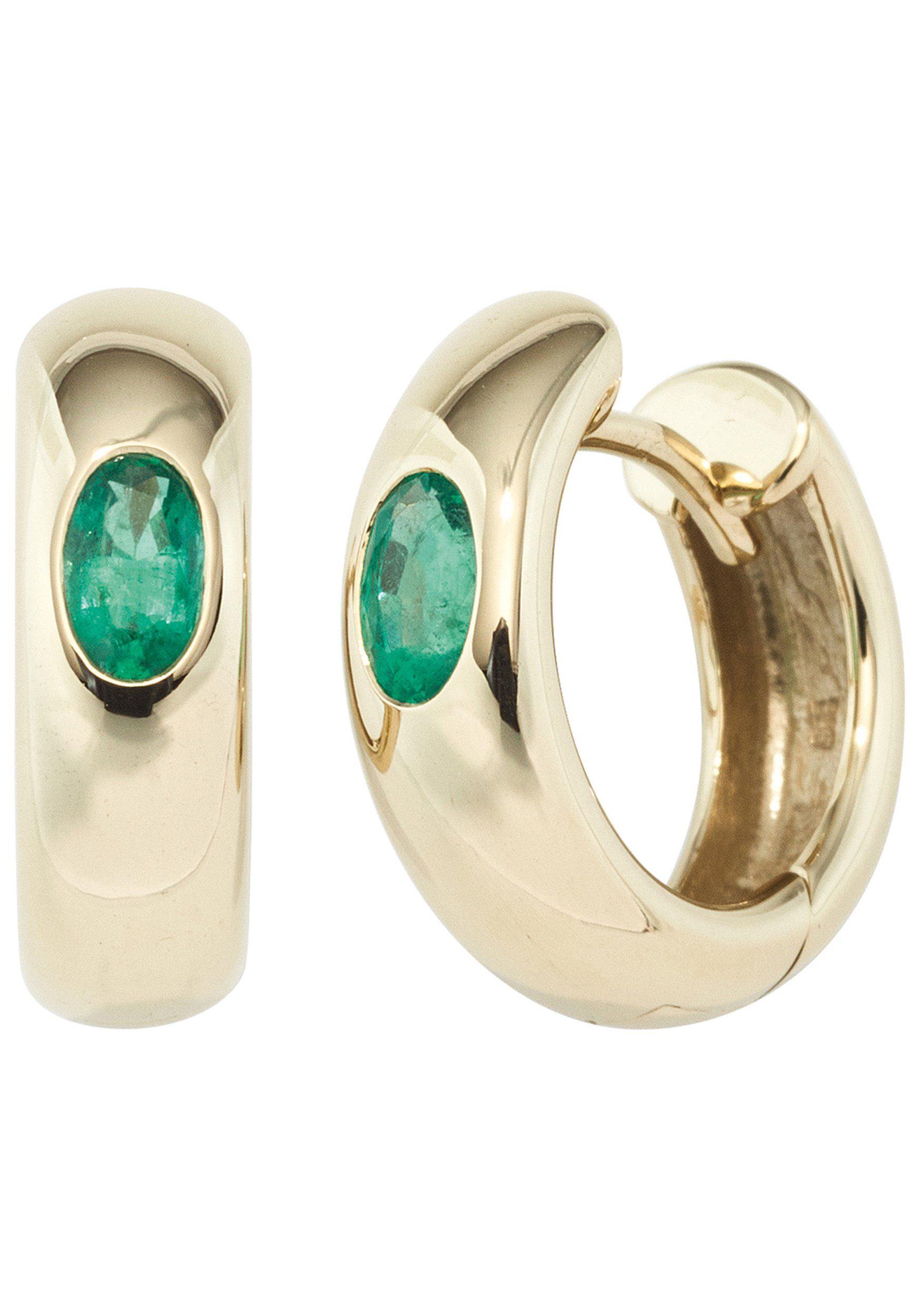 JOBO Paar Creolen rund 585 Gold mit Smaragd