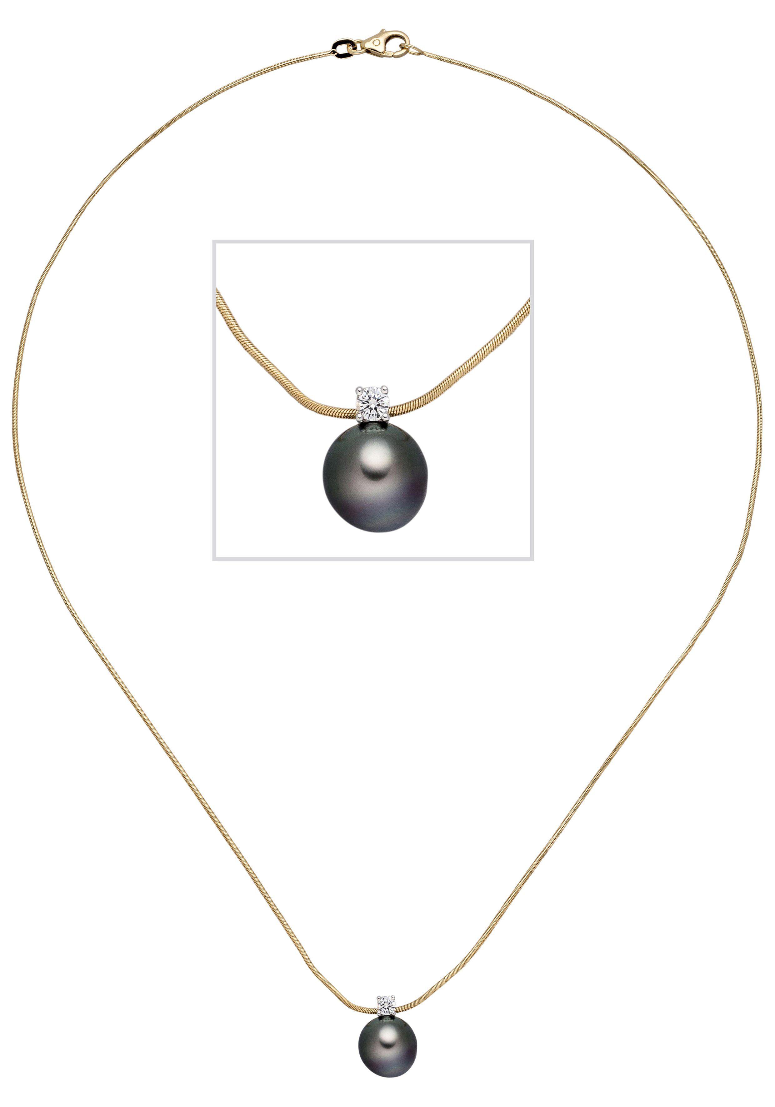 JOBO Kette mit Anhänger 585 Gold mit 1 Diamant und Tahiti-Zuchtperle 42 cm
