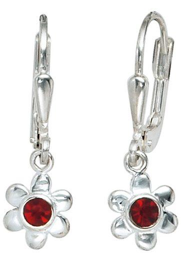 JOBO Paar Ohrhänger »Blume« 925 Silber mit Glassteinen