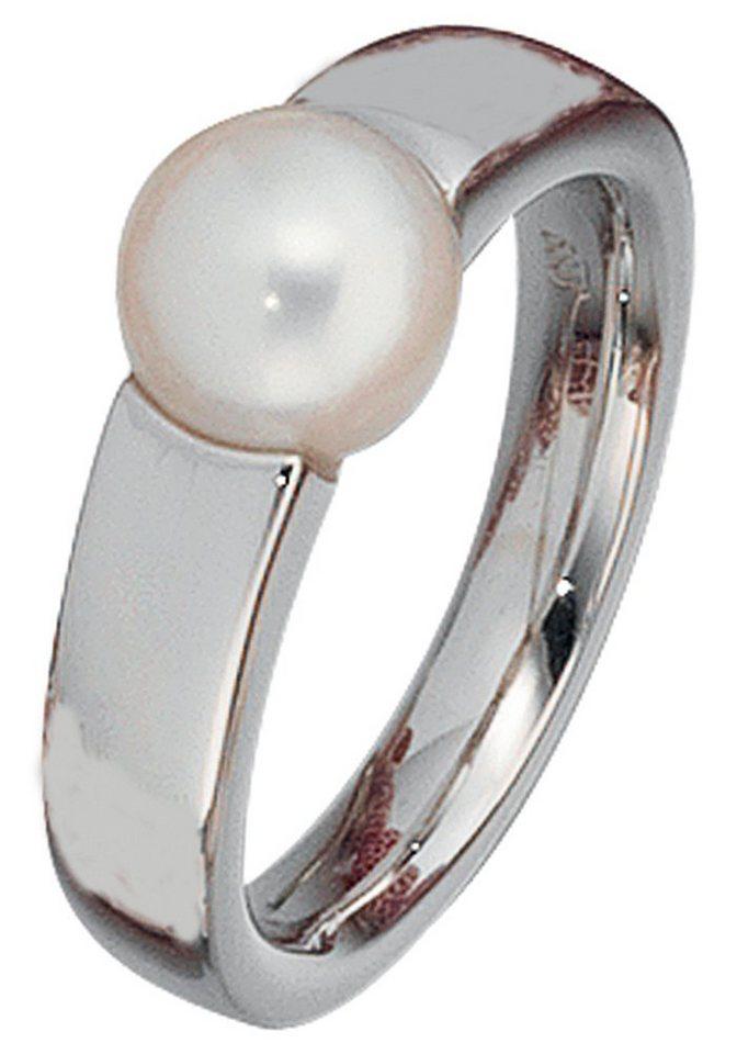 JOBO Perlenring 585 Weißgold einer mit Süßwasser-Zuchtperle   Schmuck > Ringe > Perlenringe   JOBO